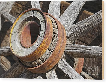Wood Print featuring the photograph Vintage Rustic Wagon Wheel 1 by Lincoln Rogers