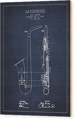 Saxophone Patent Drawing From 1899 - Blue Wood Print by Aged Pixel