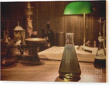Vintage Science Laboratory Wood Print by Olivier Le Queinec