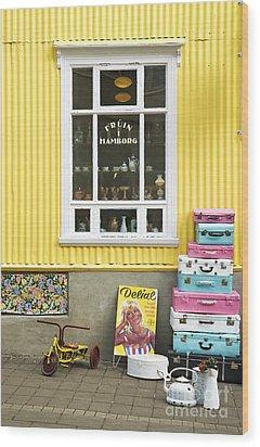Vintage Shop In Akureyri Iceland Wood Print