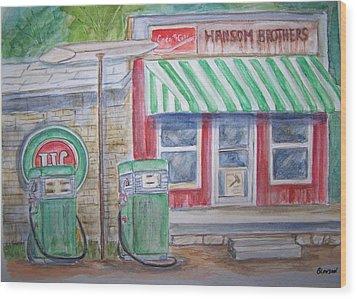 Vintage Sinclair Gas Station Wood Print by Belinda Lawson
