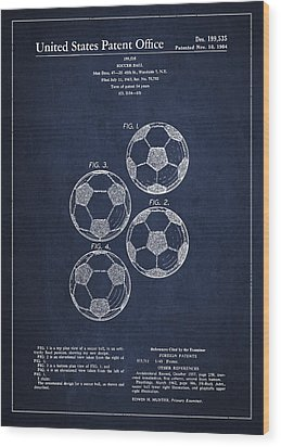 Vintage Soccer Ball Patent Drawing From 1964 Wood Print by Aged Pixel