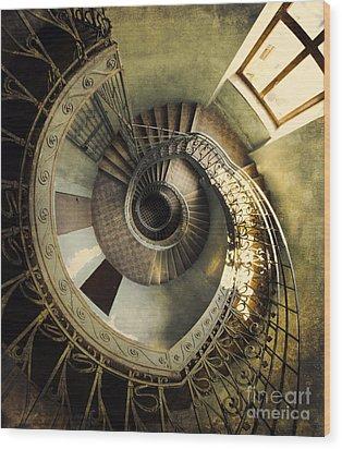 Vintage Spiral Staircase Wood Print