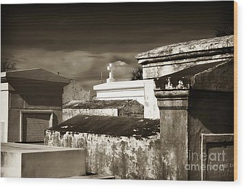 Vintage St. Louis Cemetery Wood Print by John Rizzuto