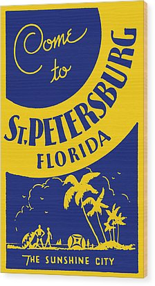 Vintage St. Petersburg Florida Poster Wood Print by Historic Image