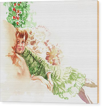 Wood Print featuring the painting Vintage Study Lilian Of James Tissot by Irina Sztukowski
