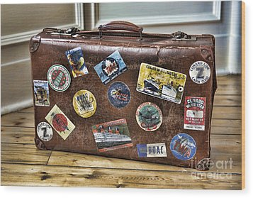 Wood Print featuring the photograph Vintage Suitcase With Labels by Craig B