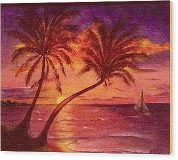 Vintage Sunset Sail  Wood Print by Susan Dehlinger