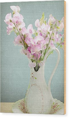 Wood Print featuring the photograph Vintage Sweet Peas In A Pitcher by Peggy Collins