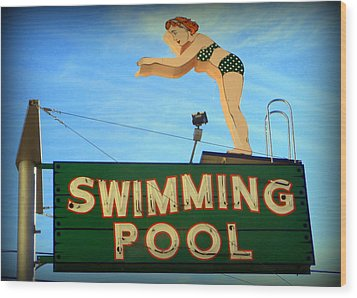 Vintage Swimming Lady Hotel Sign Wood Print by Karyn Robinson