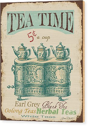 Vintage Tea Time Sign Wood Print by Jean Plout