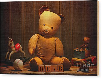 Vintage Teddy Bear And Toys Wood Print by Olivier Le Queinec