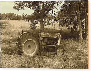 Vintage Tractor In Sepia Wood Print by Cynthia Lassiter