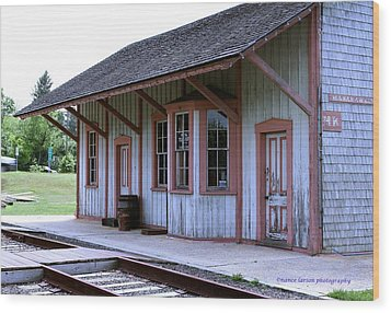 Vintage Train Station Wood Print