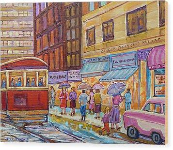 Vintage Tram Car-montreal Downtown Scene-classic Chevy Car Wood Print by Carole Spandau