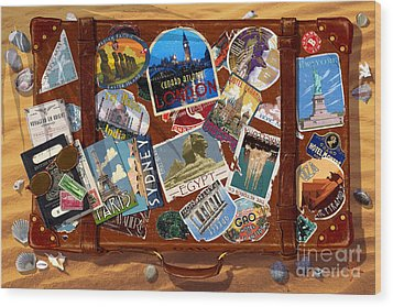 Vintage Travel Case Wood Print by Garry Walton