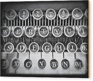 Vintage Typewriter Wood Print by Edward Fielding
