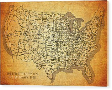 Vintage United States Highway System Map On Worn Canvas Wood Print by Design Turnpike