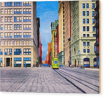 Vintage View Of New York City - Union Square Wood Print by Mark E Tisdale