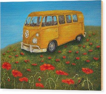 Vintage Vw Bus Wood Print by Pamela Allegretto