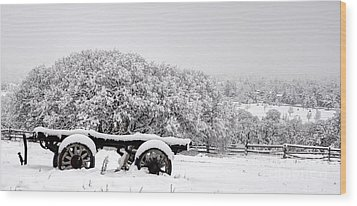Vintage Wagon In Snow And Fog Filled Valley Wood Print by Gary Whitton