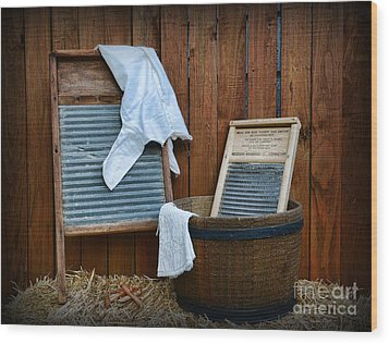 Vintage Washboard Laundry Day Wood Print by Paul Ward