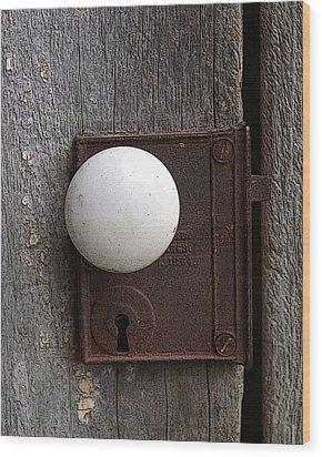 Vintage White Doorknob Wood Print by TnBackroadsPhotos