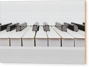 Vintage White Piano Wood Print by Kitty Ellis