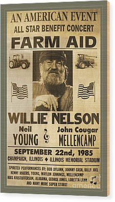 Vintage Willie Nelson 1985 Farm Aid Poster Wood Print by John Stephens