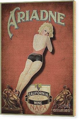 Vintage Wine Ad II Wood Print