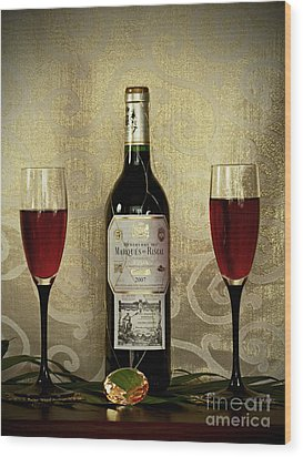 Vintage Wine Lovers Wood Print by Inspired Nature Photography Fine Art Photography