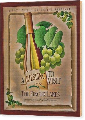 Vintage Wine Poster Wood Print by Linda Phelps