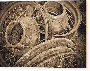 Vintage Wire Wheels Wood Print by Steve McKinzie
