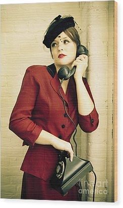 Vintage Woman Wood Print by Diane Diederich