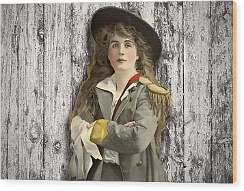 Vintage Woman In Uniform Wood Print by Peggy Collins