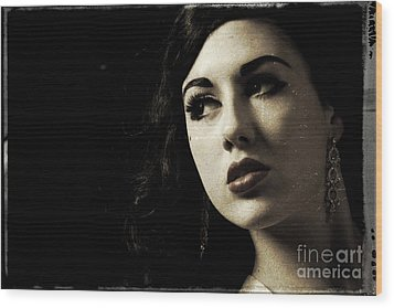 Vintage Woman  Wood Print by Lesley Rigg