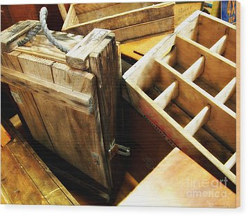 Vintage Wooden Boxes Wood Print