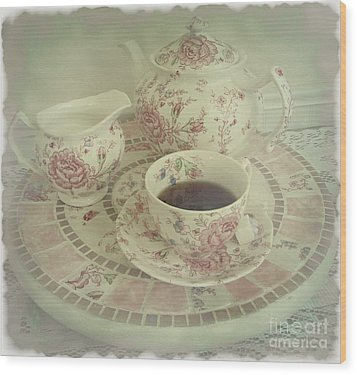 Vintage Worn Rose Chintz And Susan Wood Print by Margaret Newcomb