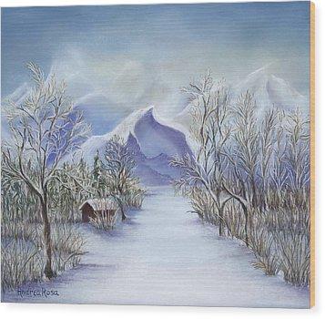 Vinter Fjell Wood Print by Andrea Rosa