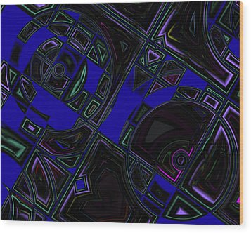 Vinyl Blues Wood Print by Judi Suni Hall