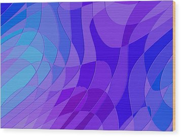 Violet Blue Abstract Wood Print by L Brown
