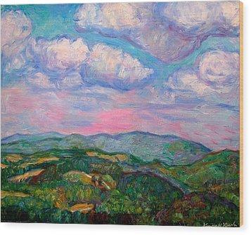 Violet Evening On Rocky Knob Wood Print by Kendall Kessler