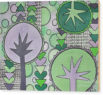 Violet-green Wood Print by Home Art