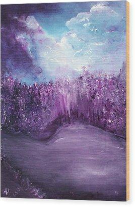 Violet Horizon Wood Print