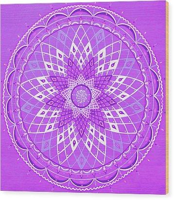 Violet Mandala Wood Print by Vlatka Kelc
