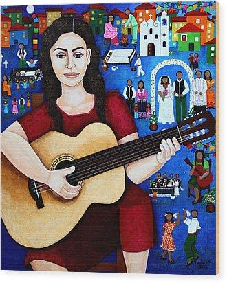 Violeta Parra And The Song Black Wedding Wood Print by Madalena Lobao-Tello