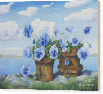 Violets On The Beach Wood Print by Veikko Suikkanen