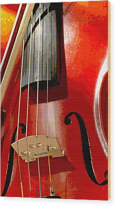 Violin And Bow Digital Painting Wood Print