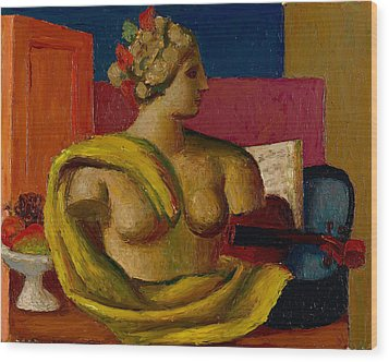 Violin And Bust Wood Print by Mark Gertler