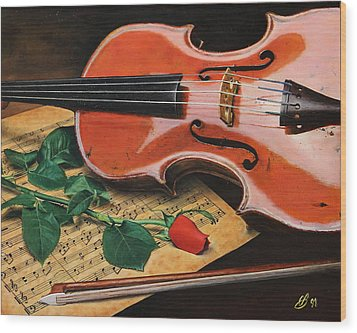 Wood Print featuring the painting Violin And Rose by Glenn Beasley